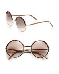 Cutler & Gross - Brown 54mm Round Acetate Sunglasses - Lyst