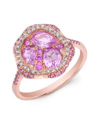 Anne Sisteron | Metallic 14kt Rose Gold Pink Sapphire Cluster Diamond Cocktail Ring | Lyst