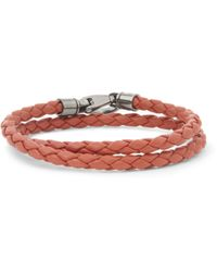 Tod's - Red Woven-Leather Wrap Bracelet for Men - Lyst