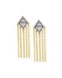 Freida Rothman | Metallic 14k Vermeil Cz Triangular Chandelier Tassel Earring | Lyst