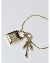 Patrizia Pepe | Metallic Costume Jewellery Bracelet With Enamel Pendent | Lyst