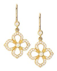 Penny Preville | Yellow Small Flower Petal Pave Diamond Earrings On French Wire | Lyst