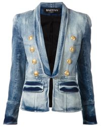 Balmain | Blue Denim Blazer | Lyst
