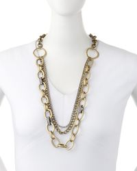 Lydell NYC - Metallic Brass Mixed-chain Necklace - Lyst