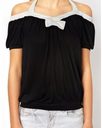 Traffic People | Black Metallic Sparkle Top | Lyst