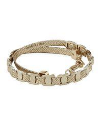 Ferragamo - Metallic Chain Link Leather Bracelet - Lyst