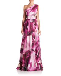 ML Monique Lhuillier - Purple One-shoulder Floral-print Gown - Lyst