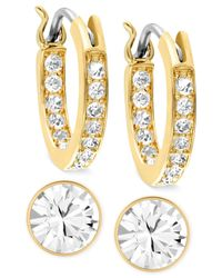 Swarovski | Metallic Gold-tone Crystal Hoop And Round Stud Earring Set | Lyst