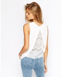 ASOS | White Top In Crepe With Split Back And Lace Insert | Lyst