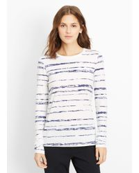Vince | White Shadow Stripe Print Long Sleeve Tee | Lyst