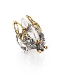 Alexis Bittar - Metallic Pave Crystal Aqua Crackle Stone Lucite Beetle Cocktail Ring - Lyst