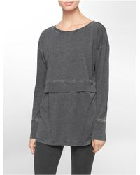Calvin Klein | Gray White Label Performance Distressed Wash Double Layer Top | Lyst