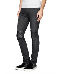Neil Barrett - Gray Faux Leather Knee Patch Skinny Jeans for Men - Lyst