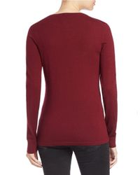 Lord & Taylor | Red Petite Merino Wool Basic Crewneck Sweater | Lyst