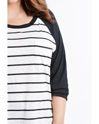 Forever 21 | Black Plus Size Striped Baseball Tee You've Been Added To The Waitlist | Lyst
