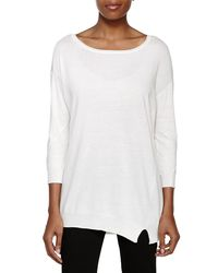 Halston - White 3/4 Sleeve Crewnk Sweater - Lyst