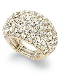 INC International Concepts | Metallic Gold-tone Glass Stretch Ring | Lyst