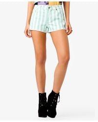 Forever 21 | Green Frayed Striped Denim Shorts | Lyst