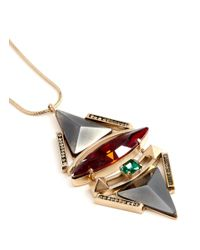 Iosselliani - Multicolor Pyramid Crystal Pendant Necklace - Lyst