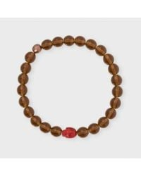 Paul Smith | Men's Brown Beaded Skull Bracelet for Men | Lyst