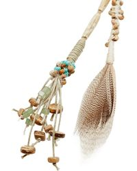 Etro - Brown Suede, Feather And Shell Necklace - Lyst