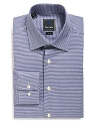 David Donahue Blue Trim Fit Houndstooth Dress Shirt for men