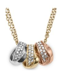 Michael Kors | Metallic Tritone Crystal Pave Threering Pendant Necklace | Lyst