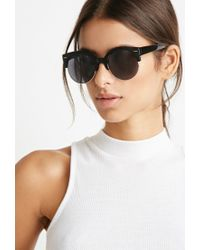 Forever 21 | Black Half-rim Cat-eye Sunglasses | Lyst