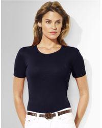 Lauren by Ralph Lauren   Blue Charissa Short-sleeved Crewneck T-shirt   Lyst