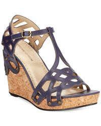 Adrienne Vittadini - Blue Cherris Platform Wedge Sandals - Lyst