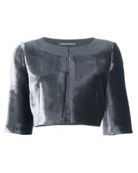 Alberta Ferretti - Gray Cropped Silk-Blend Jacket  - Lyst