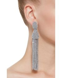 Oscar de la Renta | Metallic Silver Tassel Earrings | Lyst