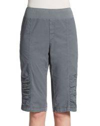 XCVI | Gray Tatem Ruched Bermuda Shorts | Lyst