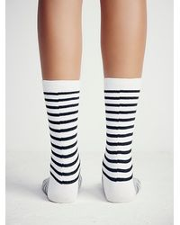 Free People | Black Richer Poorer Womens Nora Striped Crew Sock | Lyst