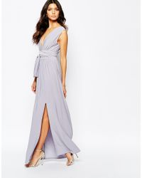 3c3139038b Lyst - Love Plunge Neck Maxi Dress With Wrap Belt in Purple