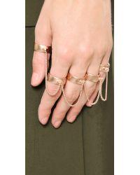 Eddie Borgo - Metallic Five Finger Ring Rose Gold - Lyst