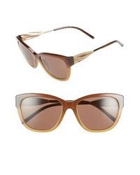 Burberry | Brown 57mm Sunglasses - Dark Tortoise | Lyst