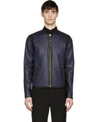 Dolce & Gabbana | Blue Navy And Black Quilted Check Jacket for Men | Lyst