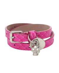 Alexander McQueen | Pink Fuchsia Snakeskin Double Wrap Skull Bracelet | Lyst