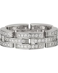 Cartier | Metallic Maillon Panthère 18ct White-gold And Diamond Ring | Lyst