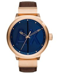 Armani Exchange   A x Men's Dark Brown Leather Strap Watch 49mm Ax1367 for Men   Lyst