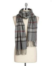 Lord & Taylor | Gray Plaid Fringe Scarf | Lyst