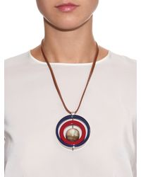 Marni | Red Horn, Leather And Resin Necklace | Lyst