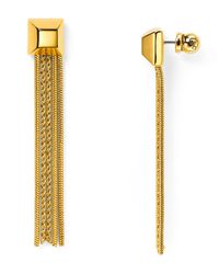 Diane von Furstenberg | Metallic Cube Chain Tassel Earrings | Lyst