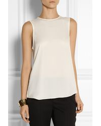 Theory - White Bringam Silk-Georgette Top - Lyst