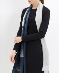 Jaeger - Blue Abstract Block Print Scarf - Lyst