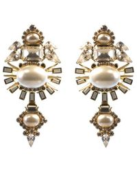 Elizabeth Cole | Metallic Henning Earrings, Pearl | Lyst