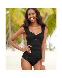 Kenneth Cole - Black Ruched Hardware Onepiece - Lyst