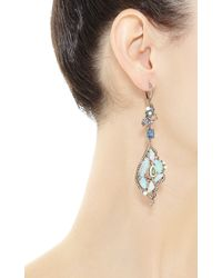 Wendy Yue - Blue One Of A Kind Organic Multi Stone Chandelier Earrings - Lyst