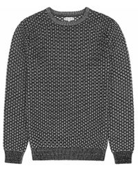 Reiss | Black Bruge Weave Cotton Jumper for Men | Lyst